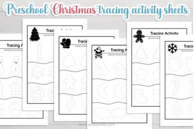 Preschool Christmas tracing activity sheets for kids- SVG - KDP.