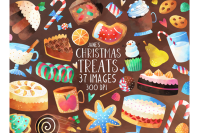 Watercolor Christmas Treats Clipart