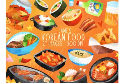 Watercolor Korean Food Clipart