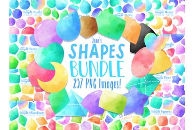 Watercolor Shapes Clipart Bundle