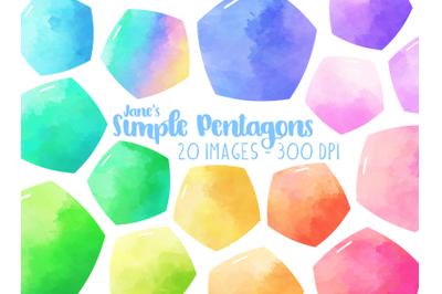 Watercolor Pentagon Clipart