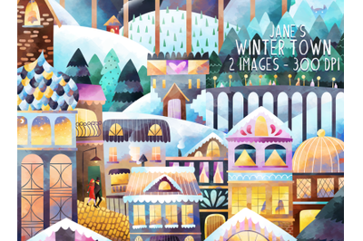 Watercolor Winter Town Clipart