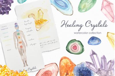Healing crystals watercolor
