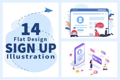 14 Registration or Sign Up Login for Account illustration