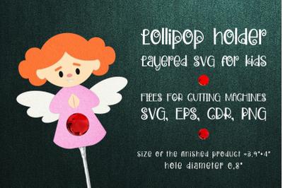 Angel Girl Lollipop Holder Template SVG