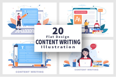20 Content Writing or Journalist Vector Illustration