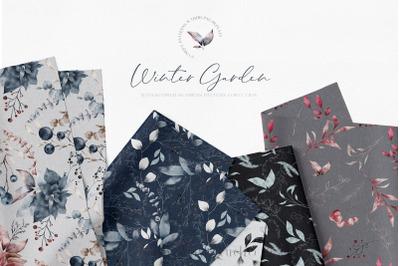 Winter Seamless Patterns Watercolour PNG
