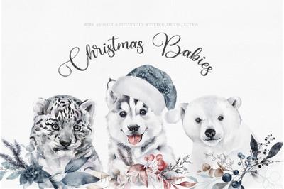 Christmas Watercolor Animal Portraits Baby Animals Winter