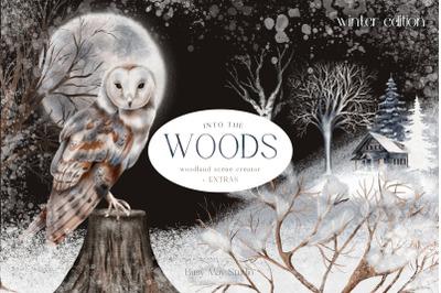 Huge Winter Woodland Scene Creator Seamless Patterns PNG