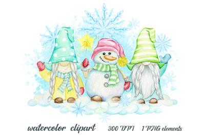 watercolor gnomes. snowman clipart. christmas clip art. merry christma