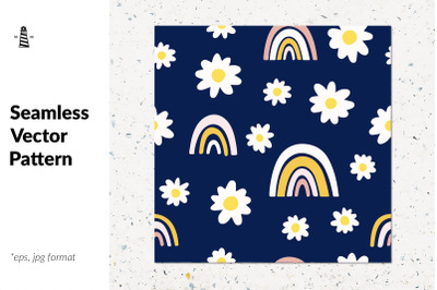 Daisies with doodle rainbows
