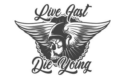 Biker Skull in Helmet with Wings Tattoo