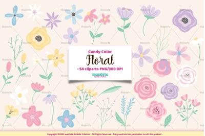 candy color flowers cliparts bundle
