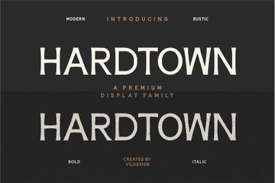 Hardtown a Vintage Sans Serif Display Font Family