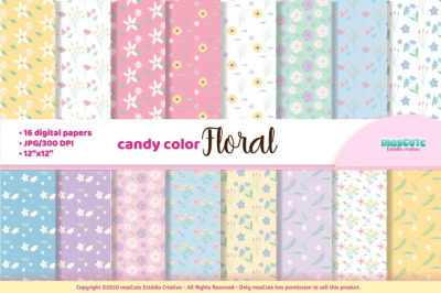 candy color flowers digital paper