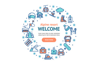 Ski Resort Welcome Round Design Template Contour Lines Icon Concept.