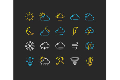 Weather Thin Line Icon Set. Vector
