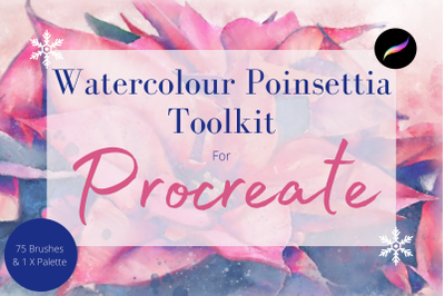 Poinsettia Watercolour Toolkit for Procreate- 75 Brushes and Stamps &