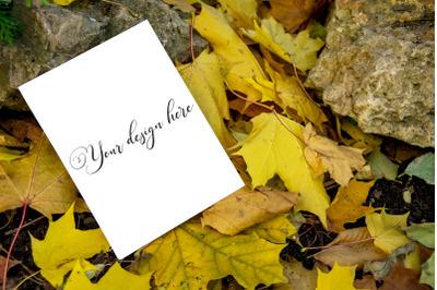 5x7 Autumn Card Mockup. Fall Mockup. Greeting card PSD mockup. Invitat