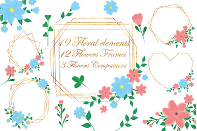 Frames gold flowers. Floral clipart. Wedding.