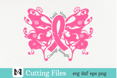A Cancer Awareness Butterfly Svg Vector File
