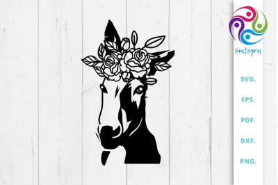 Floral Donkey Svg File