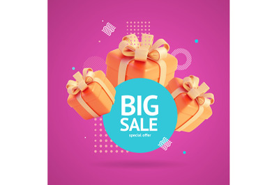 Big Sale Poster Banner Card with Present Box