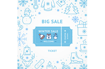 Big Winter Sale Concept with Coupon Ticket. Vector