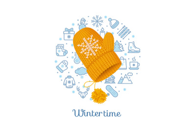 Winter Time Concept with Knitted Woolen Mitten. Vector