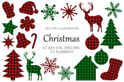 Christmas Buffalo plaid. Christmas tree plaid. Reindeer SVG