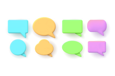 3d notification, chat message or speech bubbles shapes. Dialogue windo