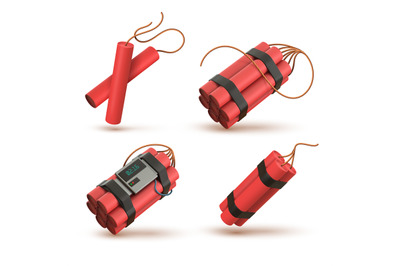 Realistic 3d red dynamite bomb with electronic timer detonator. Tnt st