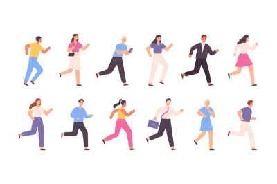 Flat running people, business man, woman, jogging characters. Outdoor