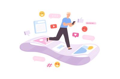 Social network addiction, man running on endless notification line. Fe