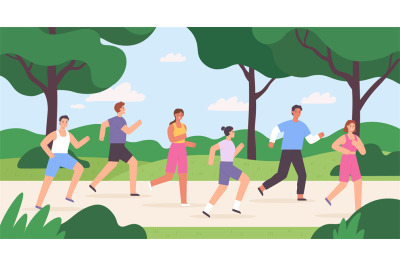 Cartoon group of people jogging in city park, race competition. Outdoo