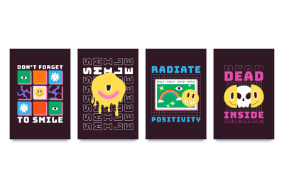 T-shirt design with psychedelic smiley faces, graffiti art. Melting em