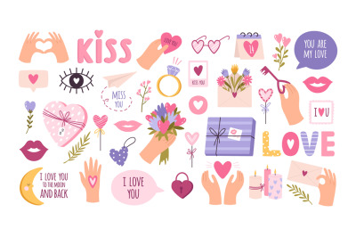 Cute valentines day stickers for planner, love letter or diary. Cartoo