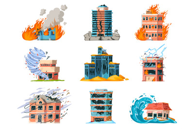 Natural disasters damage city building, earthquake, hurricane and fire