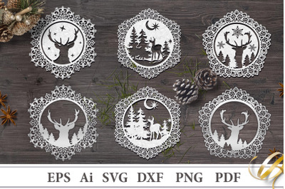Decorative Christmas stencils with deer. File to cut