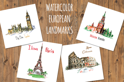 Set 4 Watercolor European landmarks