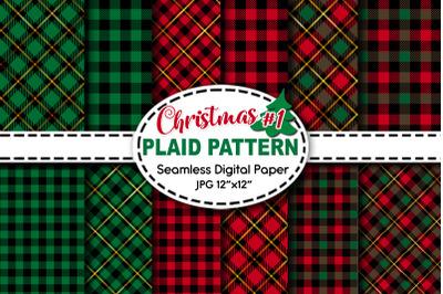 Christmas Plaid Pattern Digital Paper V.1
