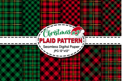 Christmas Plaid Pattern Digital Paper V.2