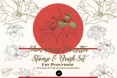 Shimmering Poinsettia Procreate Stamps and Brush Set