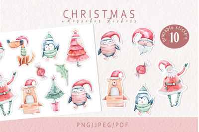 Christmas printable stickers- for Cricut and Silhouette