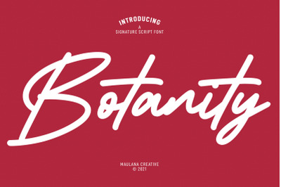 Botanity Signature Font