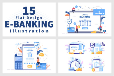 15 E-Banking App, Wallets or Bank Credit Cards Illustration