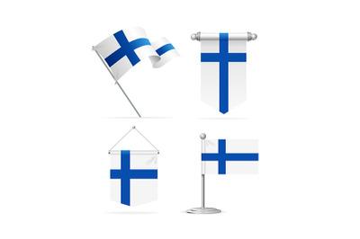 Realistic 3d Detailed Finland Flag Banner Set. Vector
