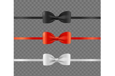 Present Satin Ribbon Bow Set. Vector