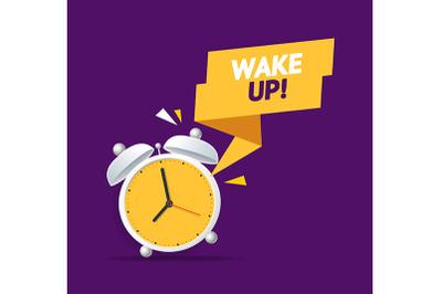 Alarm Clock Wake Up Concept. Vector