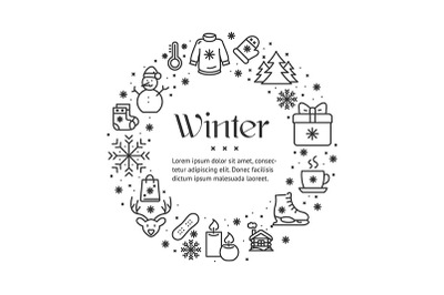 Winter Round Design Template Contour